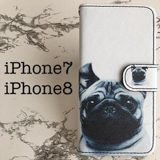 手帳型iPhone7/iPhone8専用 ケースカバー Dog(iPhoneケース)