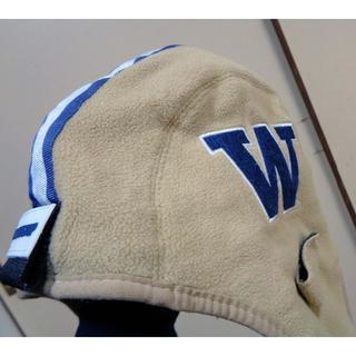 古着フリー◆ワシントン大学UCLAヘルメット型フリースキャップ刺繍(アメリカンフットボール)