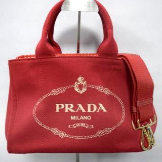 2bdc92f126c4 プラダ(PRADA)のプラダ Sサイズ 2WAYハンドバッグ カナパ レッドギンガム(ハンドバッグ)