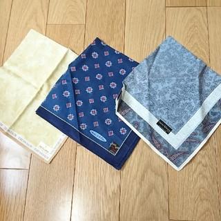 トラサルディ(Trussardi)の新品・ブランド紳士ハンカチ3枚セット・TRUSSARDI・VALENTINO(ハンカチ/ポケットチーフ)
