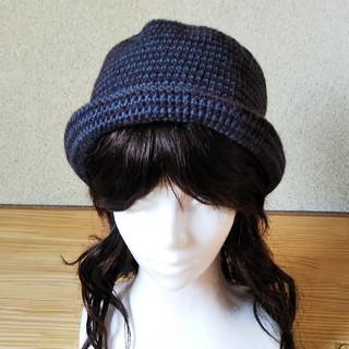 つばありシンプルニット帽(帽子)