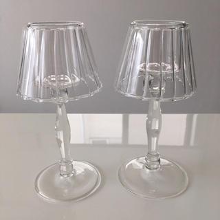 Francfranc - ガラス キャンドルスタンド&キャンドル 2つセット