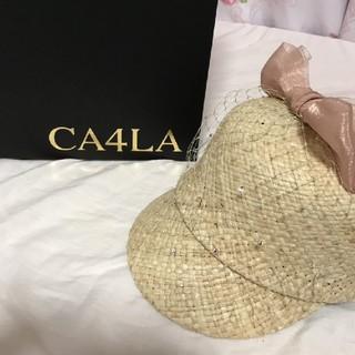 CA4LA - ピンクリボン麦わら帽子(キャップ)
