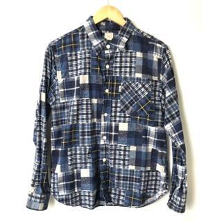 クーティー(COOTIE)の【H】雰囲気抜群★クーティー★フランネルパッチワークシャツ★ブルー★M(シャツ)