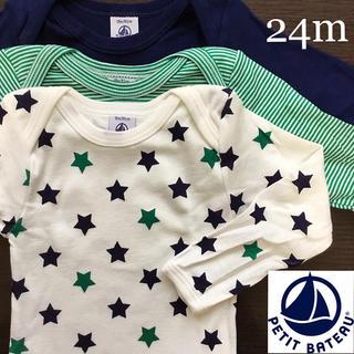 PETIT BATEAU - 【新品】プチバトー 24m 星プリント&ミラレ長袖ボディ3枚組