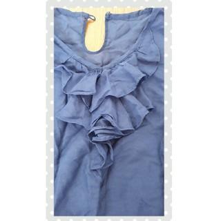 シンプリシテェ(Simplicite)のブラウス 紺 simplicite シルク混(シャツ/ブラウス(半袖/袖なし))