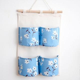 ウォールポケット 白い花 ブルー JWPKT017(日用品/生活雑貨)