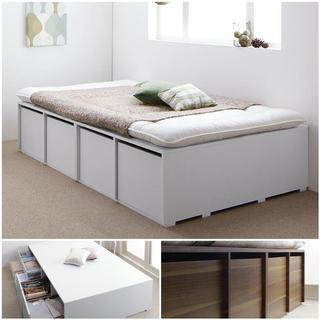 大容量デザイン収納ベッド【薄型ボンネルマットレス付き】シングル