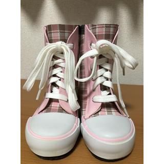 キッズ  長靴 ピンク 15cm レインブーツ チェック(長靴/レインシューズ)