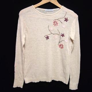 ツモリチサト(TSUMORI CHISATO)のツモリチサト ニット セーター 花 刺繍 スパンコール装飾 トップス ベージュ系(ニット/セーター)