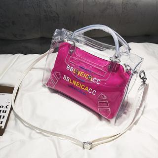 ショルダーバッグ 透明2WAYバッグ レディース (ピンク)(ショルダーバッグ)