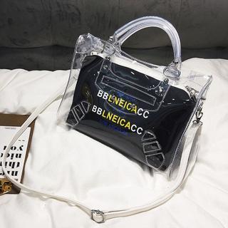 ショルダーバッグ 透明2WAYバッグ レディース (ブラック)(ショルダーバッグ)
