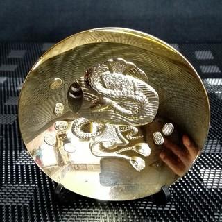 15、縁起物 金運 金杯 蛇 24kgp 置物(金属工芸)