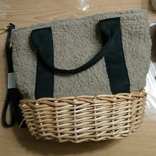 シマムラ(しまむら)のしまむら  かご ボアバッグ  新品未使用(かごバッグ/ストローバッグ)
