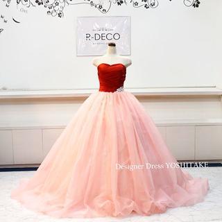 ウエディングドレス(パニエ無料) 赤サテン/ピンクオーガンジー 披露宴/お色直し(ウェディングドレス)