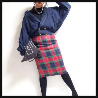 値下げ可◆*鮮やかチェック柄ミディスカート*◆(ひざ丈スカート)