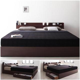 棚・コンセント付き収納ベッド!キング【フレームのみ】大型ベット(キングベッド)