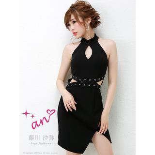 アン(an)の黒ドレス胸開きan(ミニドレス)