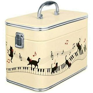 ピアノを奏でる黒猫バニティコスメボックス オフホワイト(メイクボックス)