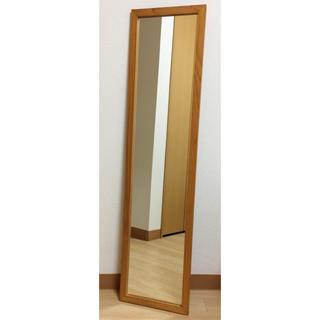 ◆ウォールミラー 全身鏡◆ブラウン◆木製 (壁掛けミラー)