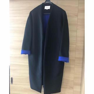 エンフォルド(ENFOLD)のenfold ウールリバーノーカラーコート ブラック×ブルー 38(ロングコート)