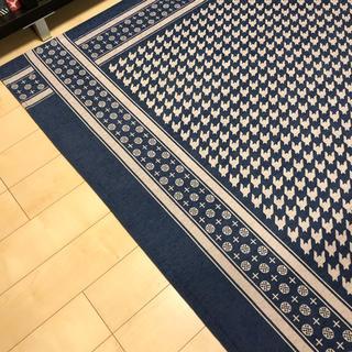 ウニコ(unico)のunico 美品ラグ 200×200 KUFIYAゴブランラグ ブルー(ラグ)