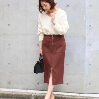 ノーブル(Noble)のT/Wダブルクロスフープジップタイトスカート(ひざ丈スカート)