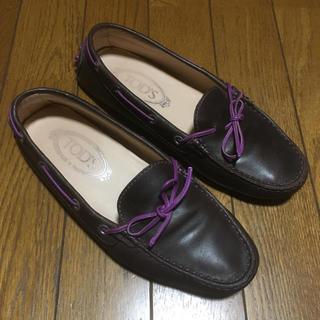 トッズ(TOD'S)のTOD'S トッズ 高級 レザードライビングシューズ 茶×紫 23.5cm 良品(スリッポン/モカシン)