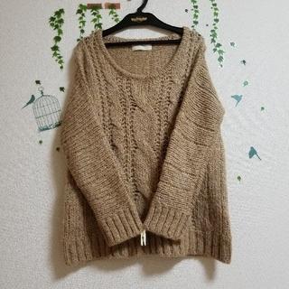 セポ(CEPO)の【美品】cepo*ラメ入り*茶系*模様編み*セーター(ニット/セーター)