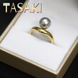 タサキ(TASAKI)の鑑定済正規品TASAKIタサキ田崎ブラックパール真珠リング(リング(指輪))