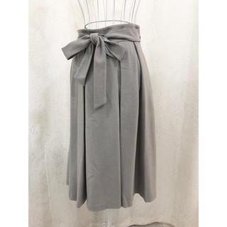インデックス(INDEX)のインデックス リボン付きフレアスカート グレー(ロングスカート)