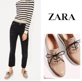ZARA - 【ZARA】プラットシューズ ブルーチャーシューズ レースアップシューズ