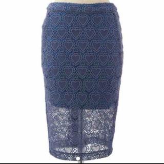 シュープリームララ(Supreme.La.La.)のハート柄レーススカート(ひざ丈スカート)