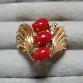 ☆血赤珊瑚 K18リング☆(リング(指輪))