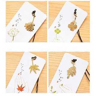 【送料無料】  しおり(クローバー 蓮 紅葉 樹の葉) 4枚セット 純金風(その他)