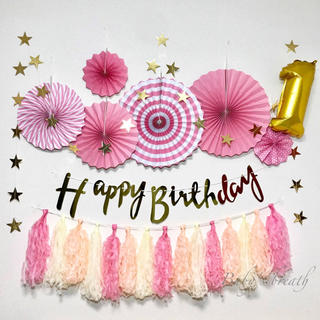 ★お誕生日飾り付けセット★数字バルーンタッセル付き♡ ピンク バースデー(その他)