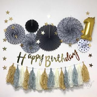 ★お誕生日飾り付けセット★数字バルーンタッセル付き♡ブラック バースデー(その他)