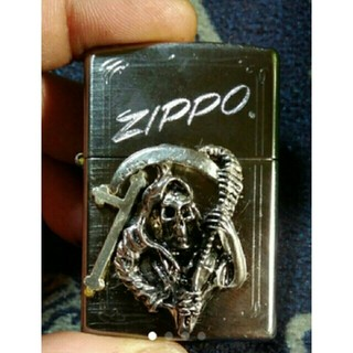 ジッポー(ZIPPO)のzippo死神&十字架貼りチューニング済み!快音!(タバコグッズ)