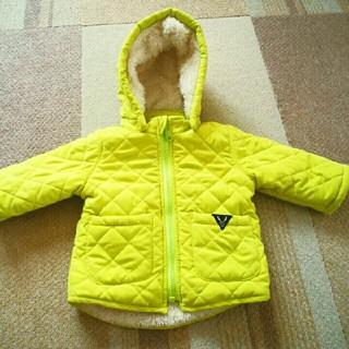 子供服 ボアキルティングジャケット フード付き ライムグリーン 表示サイズ:80(ジャケット/コート)
