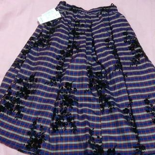 シマムラ(しまむら)のしまむら購入 ブラウン系パープル フラワー スカート レトロ(ひざ丈スカート)