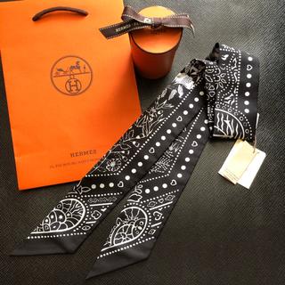 エルメス(Hermes)のエルメス バンダナ ツイリー 黒 国内購入 新品(バンダナ/スカーフ)