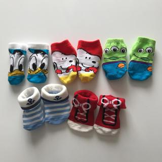 ディズニー(Disney)の新生児 靴下 エイリアン SNOOPY ドナルドダック 未使用(靴下/タイツ)