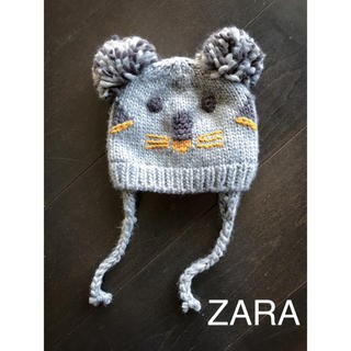 ザラ(ZARA)のZARA ベビー ポンポン付きコアラニット帽子 12-24ヵ月(帽子)