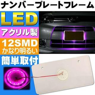 LEDナンバーフレーム 12LED ピンク(汎用パーツ)