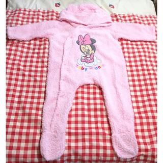 ディズニー(Disney)のミニーちゃん暖かロンパース カバーオール ピンク 50~80cm ディズニー(カバーオール)