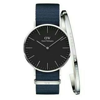 ダニエルウェリントン(Daniel Wellington)のプレゼントに!【ブルー36mm】ダニエルウェリントン★カップル 腕時計+バングル(腕時計(アナログ))