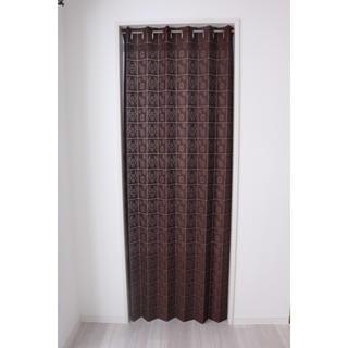 (新品・2サイズ)多機能レース間仕切りカーテン(花BR)100㎝×200㎝ 1枚(レースカーテン)