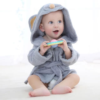 ベビーバスローブ ネズミ 赤ちゃん 新生児(バスローブ)
