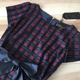 f543d0a0f4d3d ブージュルード(Bou Jeloud)のリボンチェックのワンピース ドレス☆ブージュルード (ミディアムドレス