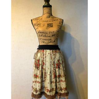 アクシーズファム(axes femme)のスカーフ柄プリーツスカート(ひざ丈スカート)